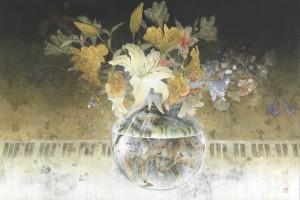 「華とピアノ(夜想曲)」40号変形